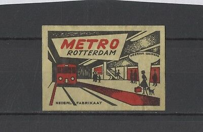 """Nice Old Made in Holland """"Metro Rotterdam"""" Safety Match Vintage Matchbox Label"""