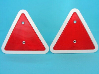 2 x Red Triangle Rear Reflectors White Surround - Trailer Caravan