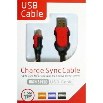 Heavyduty Braided Extra Long Fast Charge Micro USB Data Phone Charger Cable 1.5m