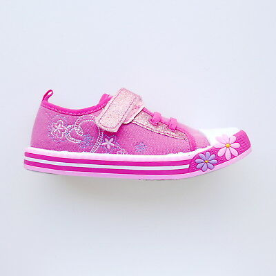 Girls Hot Pink Floral Low Top Trainers Shoes By Chatterbox Size 10