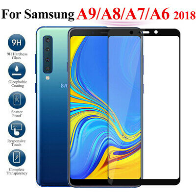 For Samsung Galaxy A9 A8+ A7 A6+ 2018 Full Cover Tempered Glass Screen Protector