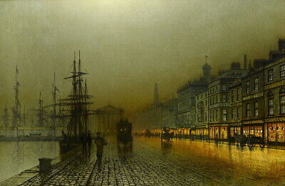 John Atkinson Grimshaw Harbour at Night  Giclee Canvas Print Paintings Poster