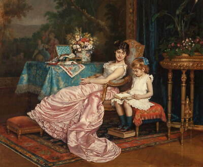 Auguste Toulmouche A mother and daughter reading Giclee Canvas Print Poster