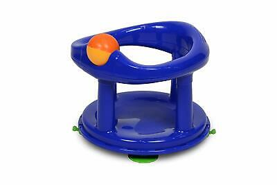 Blue Baby Bath Seat Back Support Suction Cups 360 Degree Swivel Hands Free Help