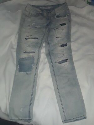 590e7db616a American Eagle Outfitters Women Tom Girl Ripped Jeans Patches In Rips Sz 2