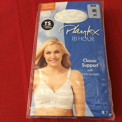 3cba3485a2651 NWT Bra Playtex 18 Hour Classic Support 40C Wirefree white 20 27 MSRP- 35.00