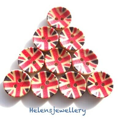 10 Wooden Union Jack Sewing Buttons 2 Holes Round Black 15mm same day p&p