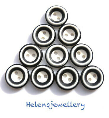 10 Resin Dolly Eye Sewing Buttons 2 Holes Round 15mm same day p&p
