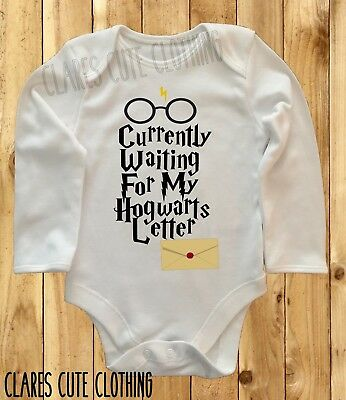 b9852579ab6 Harry Potter Waiting For My Hogwarts Letter Baby Vest  Grow Bodysuit Romper