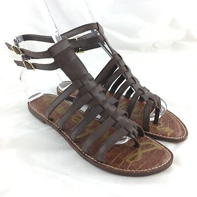 ea79a3916dd948 Sam Edelman sandals flat strappy 8 brown leather caged gladiator buckle  Gilda