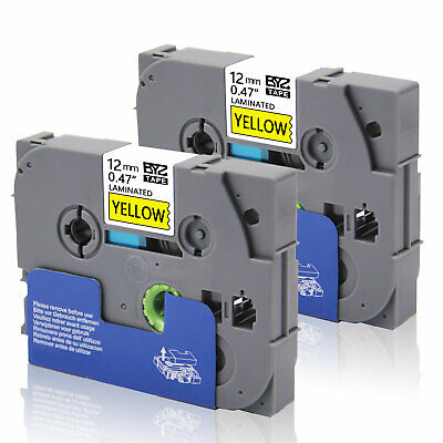 """2PK Label Tape TZe631 12mm 0.47"""" Black/Yellow Compatible Brother p-touch PT-D600"""