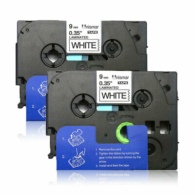 """2PK Tape Label TZe221 9mm (3/8"""") Black/white compatible/Brother Laminated PTE200"""