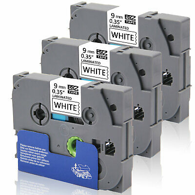 """3PK Tape Label TZe221 9mm (3/8"""") Black/white compatible/Brother Laminated PTH110"""