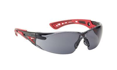 Bolle Platinum Rush Safety Glasses Smoked Lens Red Frame Eye Protection RUSHPPSF