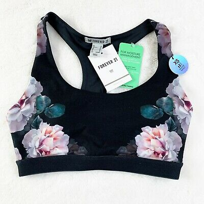 bfd2273e6 Forever 21 Womens Sports Bra Size XS Medium Impact Black Floral Rose Print  Yoga