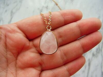 Natural Stone Necklace Water Drop Rose Quartz Gold Plated Necklace Ladies Gift
