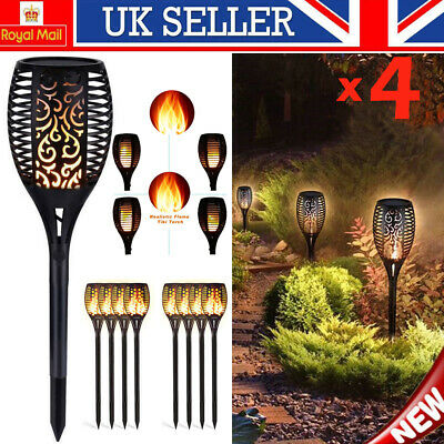 UK 4PCS 96LED Waterproof Solar Torch Light Dancing Flickering Flame Garden Lamp