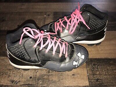 quality design 57aca c01e6 Under Armour Youth Cleats Size 5.5Y Black White Pink Baseball Softball Youth