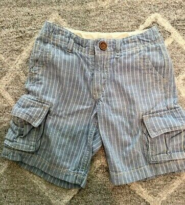 Baby Gap size 4 years linen shorts heather blue 4T pinstripe boy Easter shorts