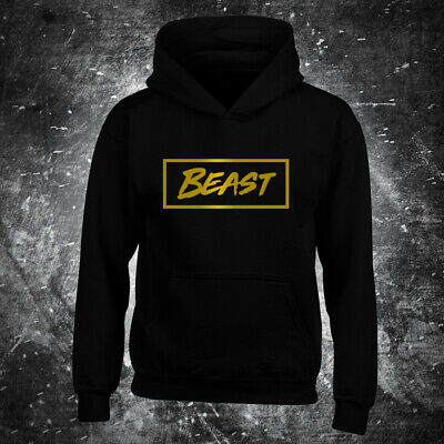 MR BEAST BOX HOODIE Youtuber Beast top Kids UNISEX Black gold label gamer