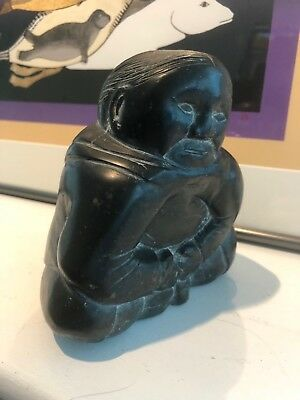 Vtg 1950s Lucassie Nowrakudluk (1912-81) Seated Woman w Plaits Inuit Art Carving