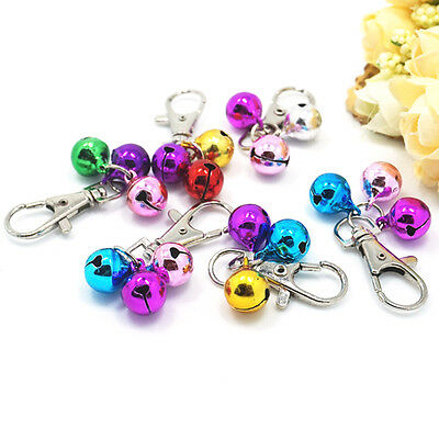 2x Metallic Pet Dog Cat Puppy Charms Jingle Bells with Clips for Necklace NIUS