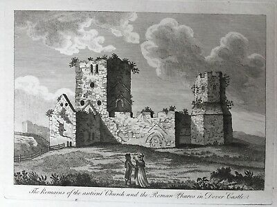 1780 Antique Large Print: Dover Castle, St Mary in Castro Church & Pharos, Kent
