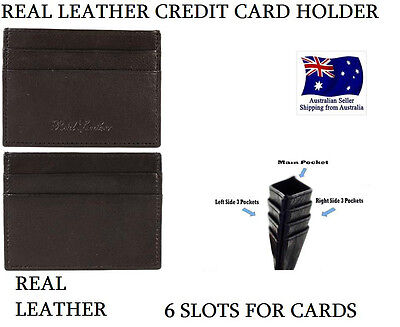 6 Slot Genuine Leather Mens Small Id Credit Card Wallet Holder Slim Case Pocket