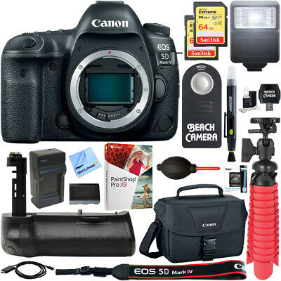 Canon EOS 5D Mark IV 30.4MP DSLR Camera Body + 64GB Memory & Flash Bundle