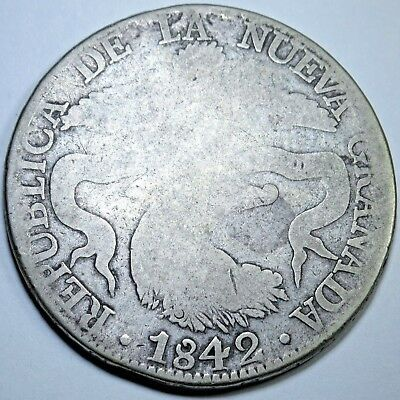 1842 Colombia Bogota 8 Reales Silver Dollar Colombian Old Mexico Eight Real Coin