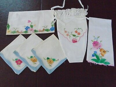 Antique/Vintage Hand Applique & Embroidery Madeira Linen Wall pocket, napkins