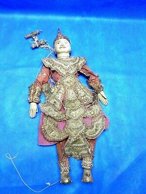 """Antique 1900's Burma Hand Carved Wooden PUPPET / MARIONETTE 18"""""""