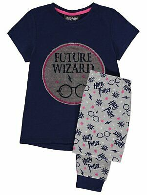 Girls Harry Potter Hogwarts swipe sequins Cotton Pyjama Set Kids PJs 5-6 years
