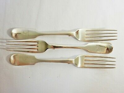 Set of 3 Three Antique Victorian 1866 Sterling Solid Silver Dinner Forks Fiddle