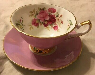 Staffordshire fine English bone china tea cup & saucer Pink roses Gold  Trim