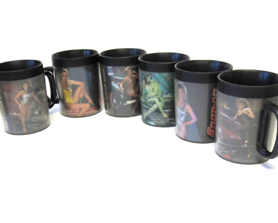 Snap On Tools Thermo Serve Thermal Mugs Cups Set of Six 1980's Car Pin Up Girl