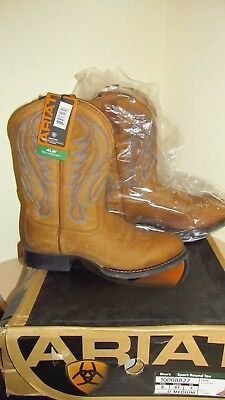 cca226e62fd ARIAT MEN'S SPORT Round Toe Arena Brown Leather Western Boots Size 8 New In  Box
