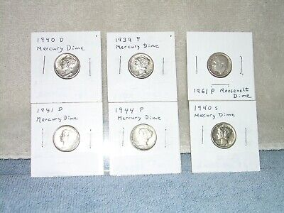 Mercury Dimes - Lot of 5, 1939p 1940d 1940s 1941d 1944p all AU or better