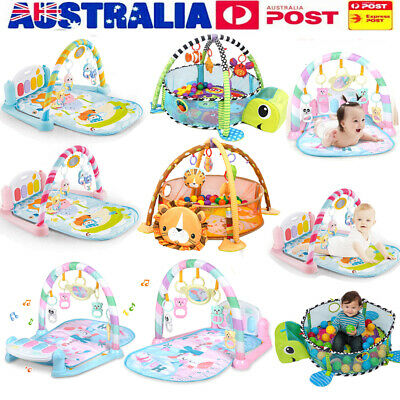 3 in 1 Fitness Baby Gym Play Mat Lay Play Music And Lights Fun Piano Keyboard