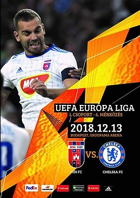 Programme Vidi Hungary v Chelsea 2018 Europa League.12 pages Size A4. Unofficial