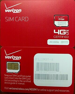NEW VERIZON MICRO SIM CARD 4GLTE.  Broadband  NEW -  Prepaid or PostPaid -