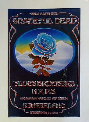 Winterland Closing Blue Rose Original Poster Signed Mouse/Kelley Grateful Dead