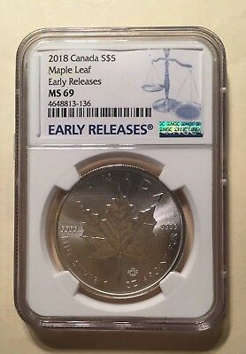 2018 Canada 1oz Silver Maple Leaf NGC MS69 Early Releases