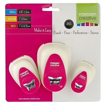 Vaessen Butterfly Punch Set - 1.5, 2.5 and 3.75cm 3 sizes Small, Medium & Large