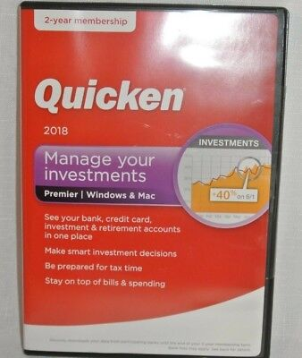 Quicken 2018 Manage Your Investments Premier Windows & Mac 2 Years Membership