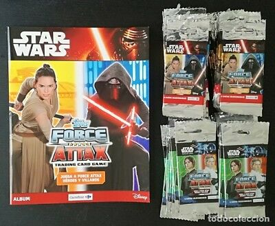 Album Star Wars Topps Force Attax Tradding cards game: Vacio + 100 sobres,