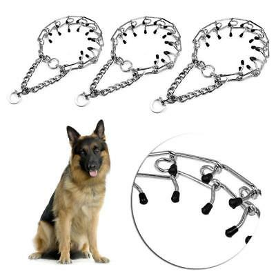 Dog Training Choke Chain Collar Adjustable Silver Metal Steel Prong Pinch G