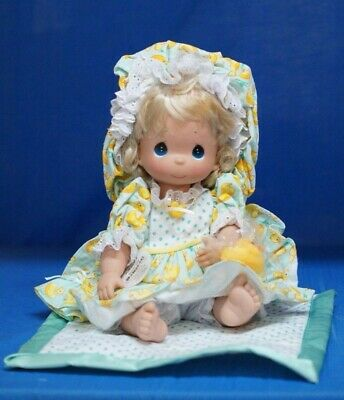 """Precious Moments Just Ducky vinyl doll with blanket and rubber duck 12"""" NEW"""