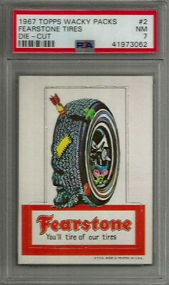 1967 Topps Wacky Packages #2 Fearstone Tires Die-Cut PSA 7 NM Non-sport Card