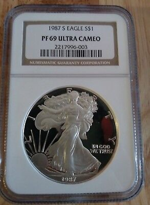 1987-S 1 oz  Proof American Silver Eagle Coin GRADED NGC PF-69 ULTEA CAMEO